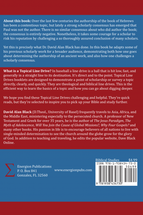 The Authorship of Hebrews - Back Cover